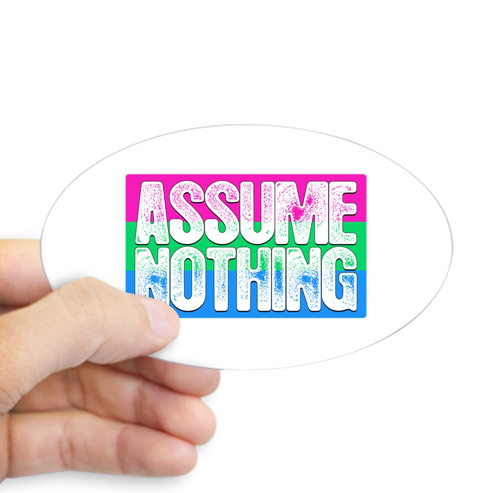 Assume Nothing Polysexual Pride Flag Oval Sticker