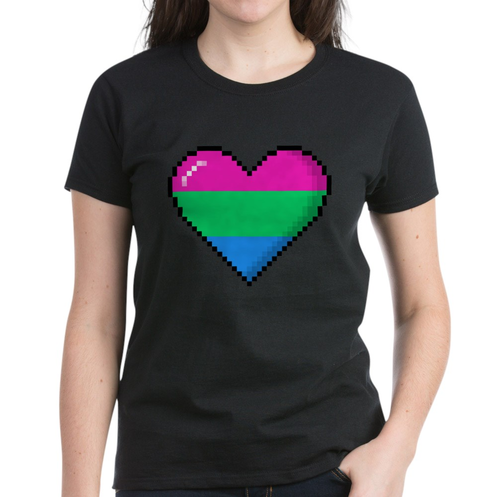 Polysexual Pride 8-Bit Pixel Heart Women's Dark T-Shirt