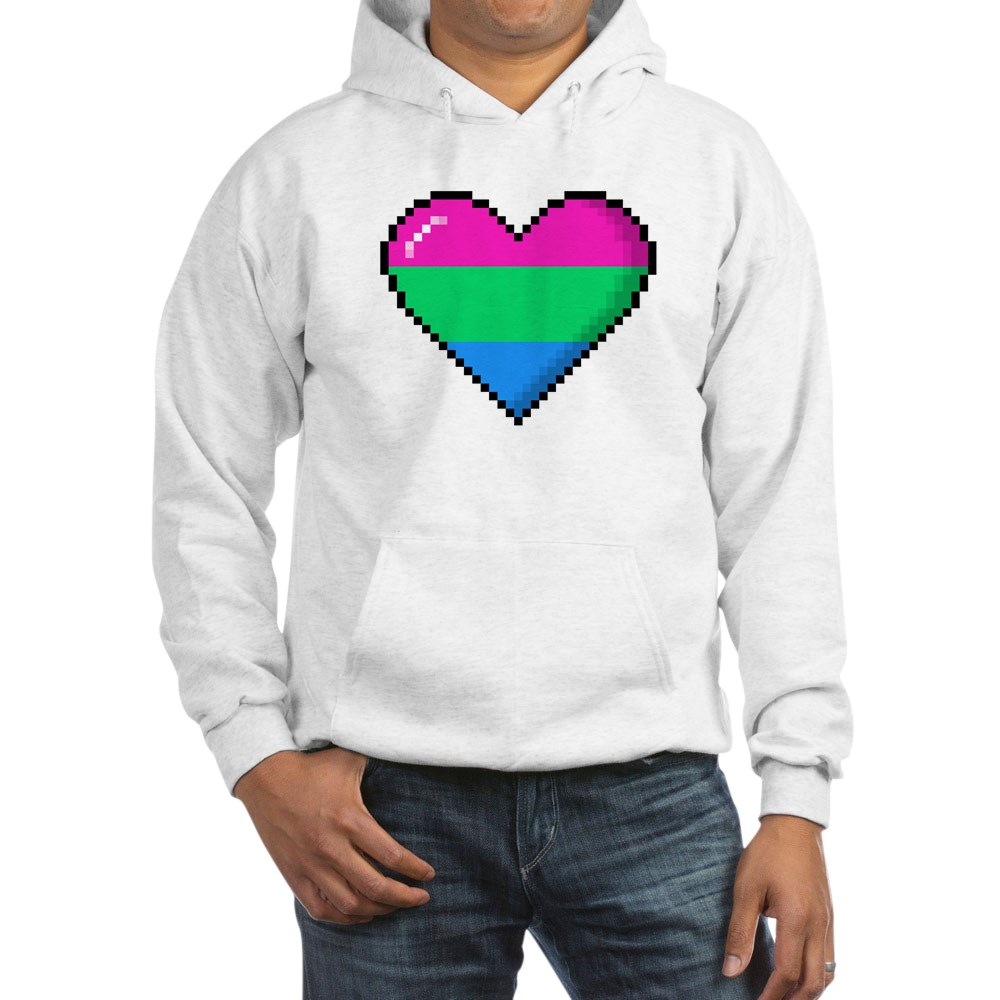 Polysexual Pride 8-Bit Pixel Heart Hooded Sweatshirt