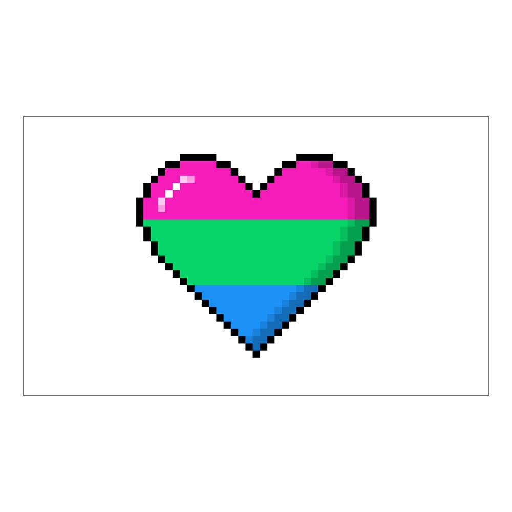 Polysexual Pride 8-Bit Pixel Heart Rectangle Sticker