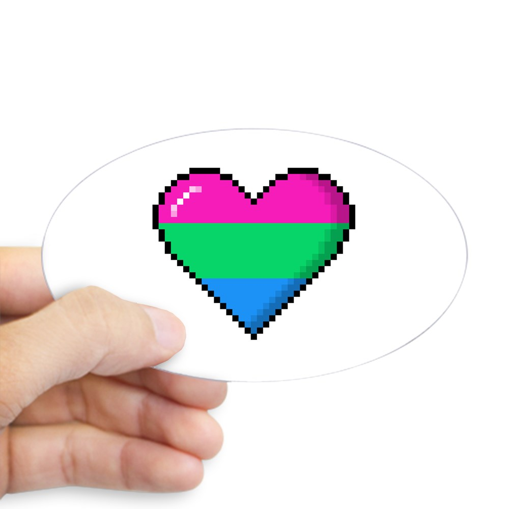 Polysexual Pride 8-Bit Pixel Heart Oval Sticker