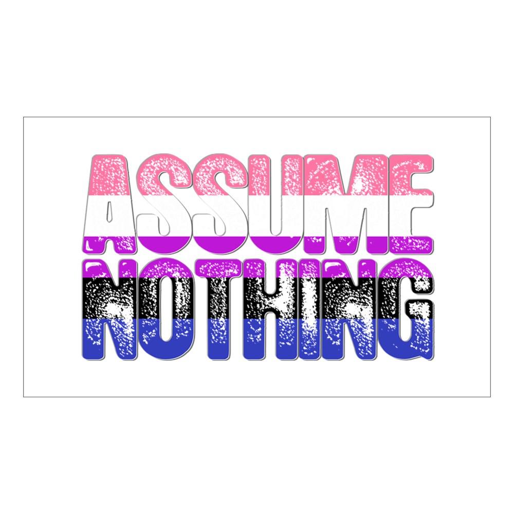 Assume Nothing Genderfluid Pride Rectangle Sticker