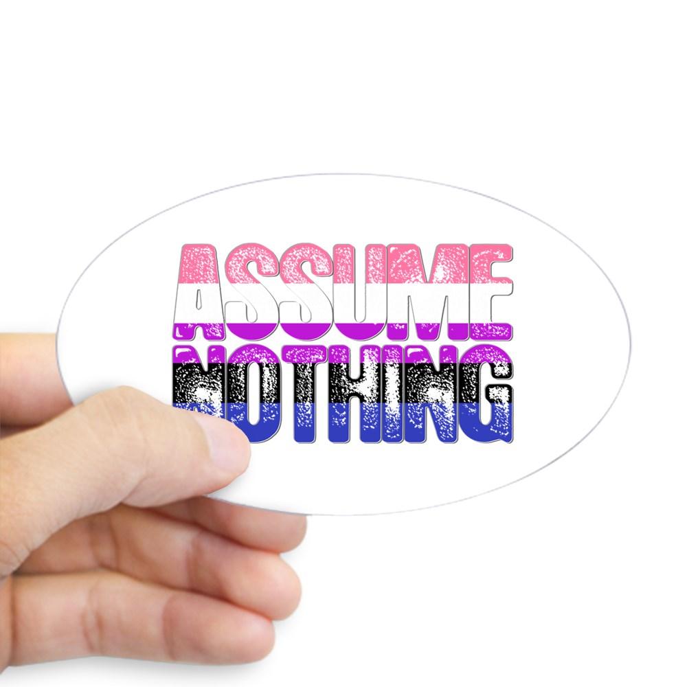 Assume Nothing Genderfluid Pride Oval Sticker