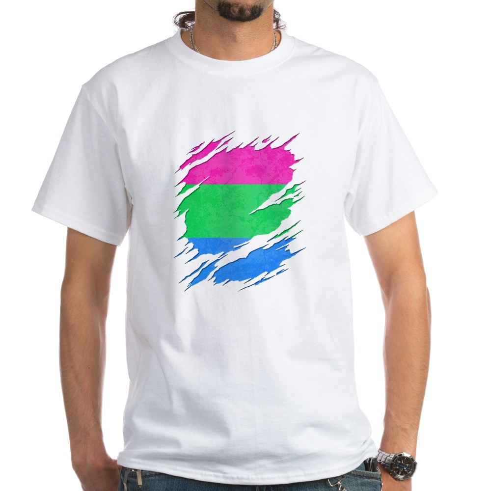 Polysexual Pride Ripped Reveal White T-Shirt