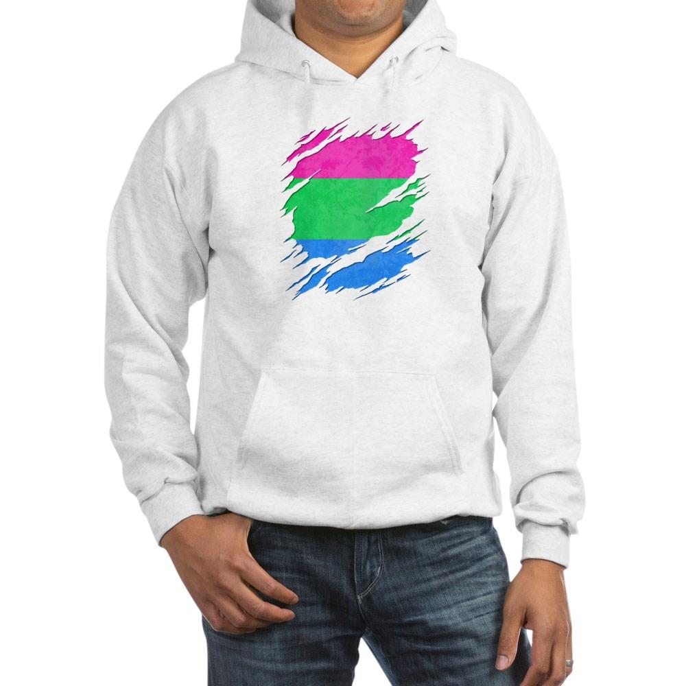 Polysexual Pride Ripped Reveal Hooded Sweatshirt