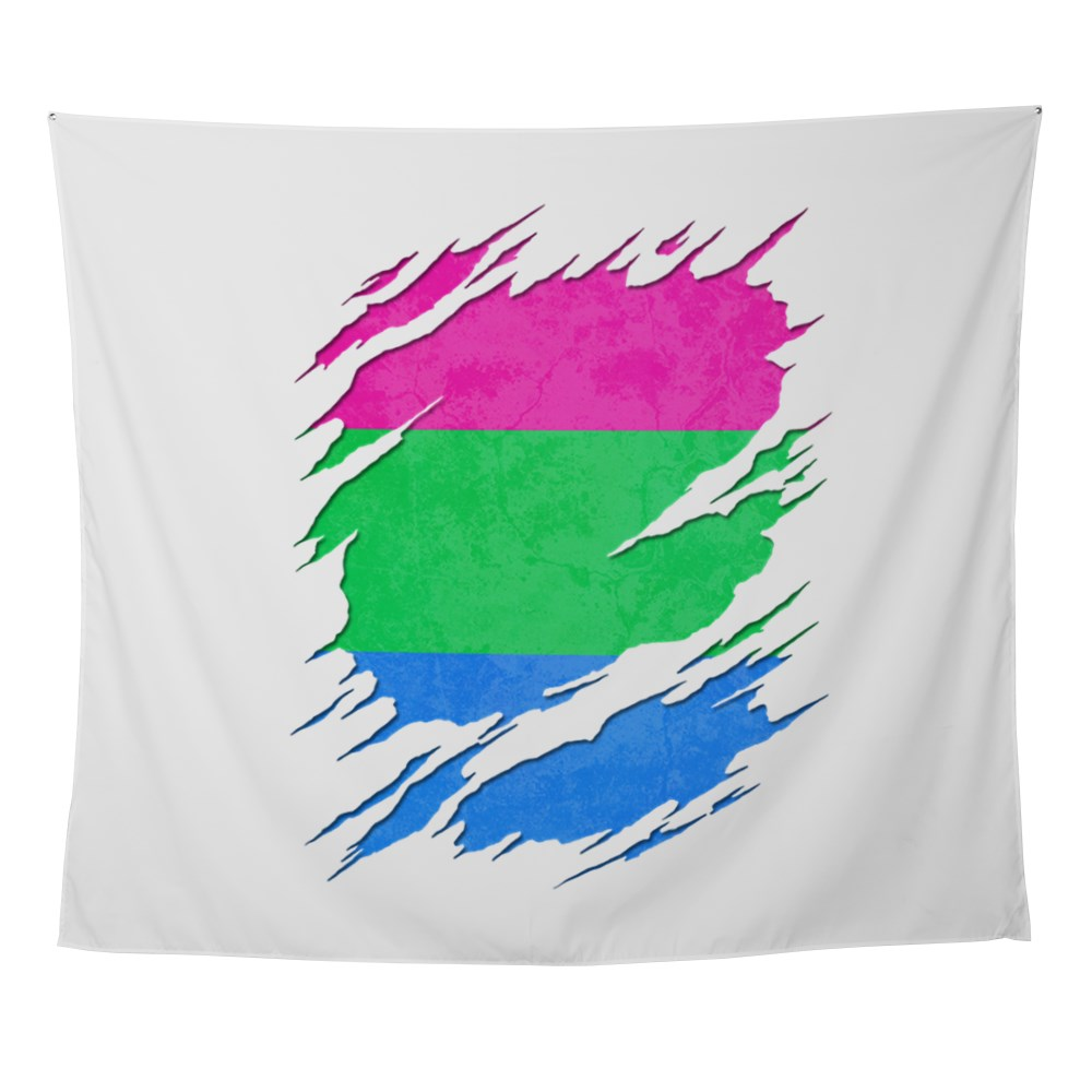 Polysexual Pride Ripped Reveal Wall Tapestry