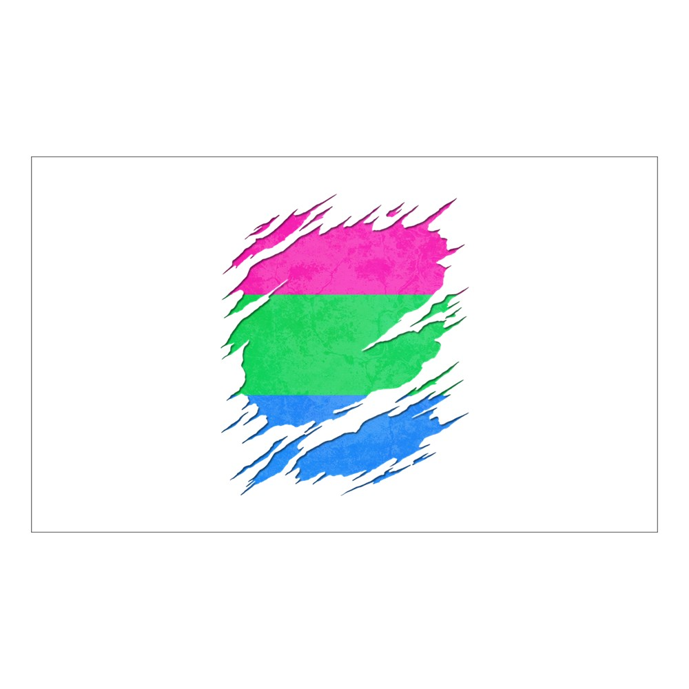 Polysexual Pride Ripped Reveal Rectangle Sticker