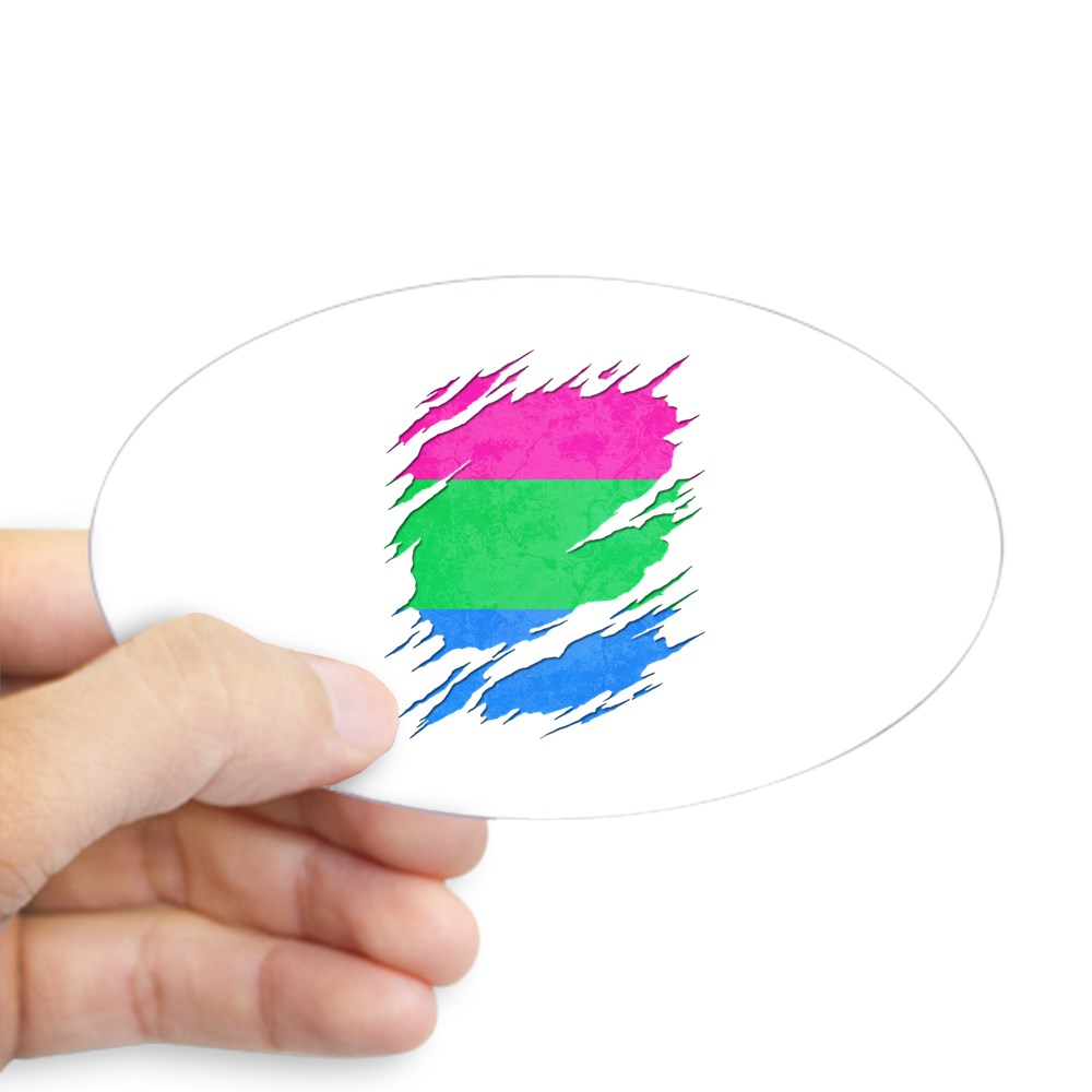 Polysexual Pride Ripped Reveal Oval Sticker