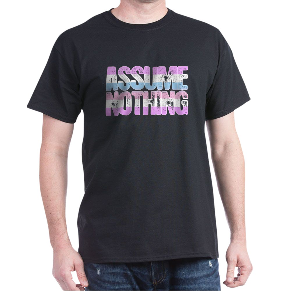 Assume Nothing Bigender Pride Dark T-Shirt