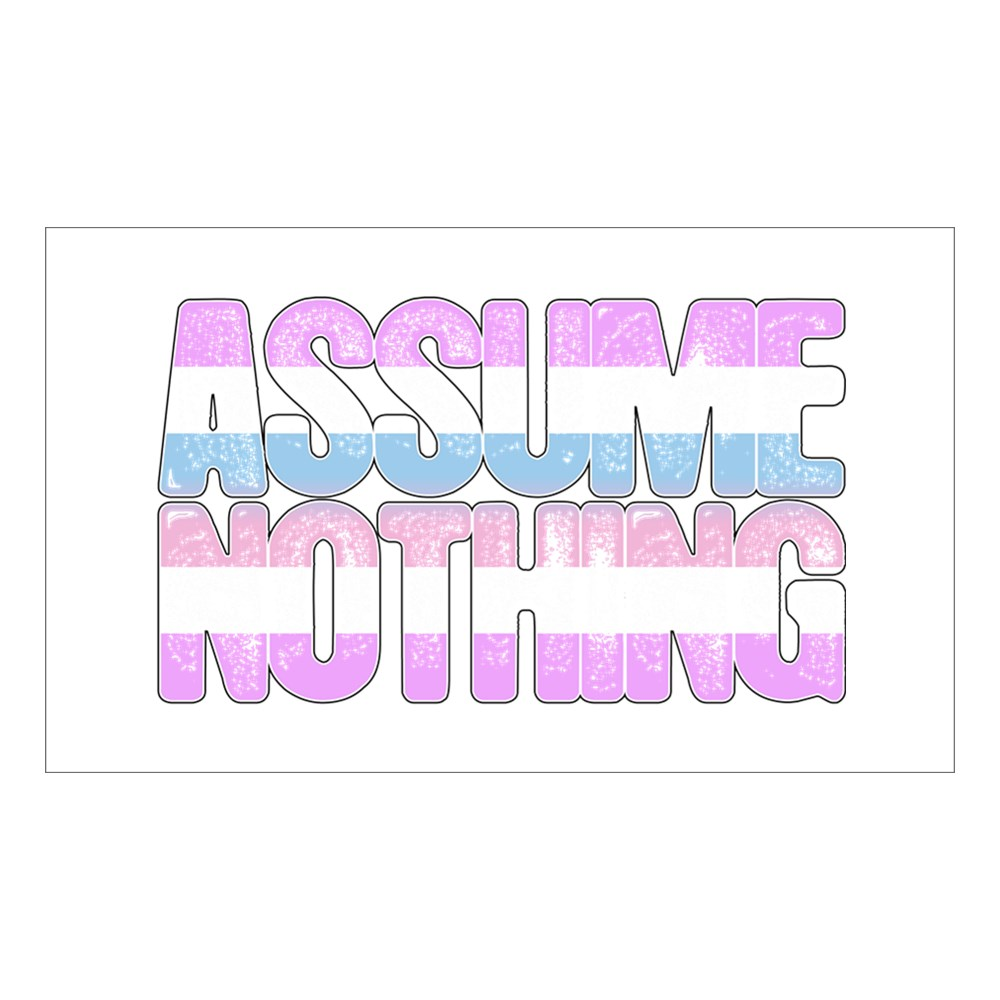 Assume Nothing Bigender Pride Rectangle Sticker