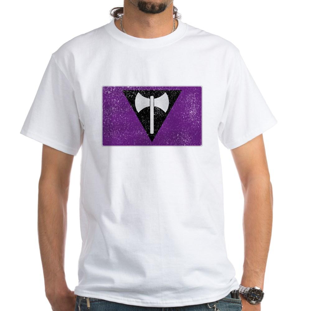 Distressed Lesbian Labrys Pride Flag White T-Shirt