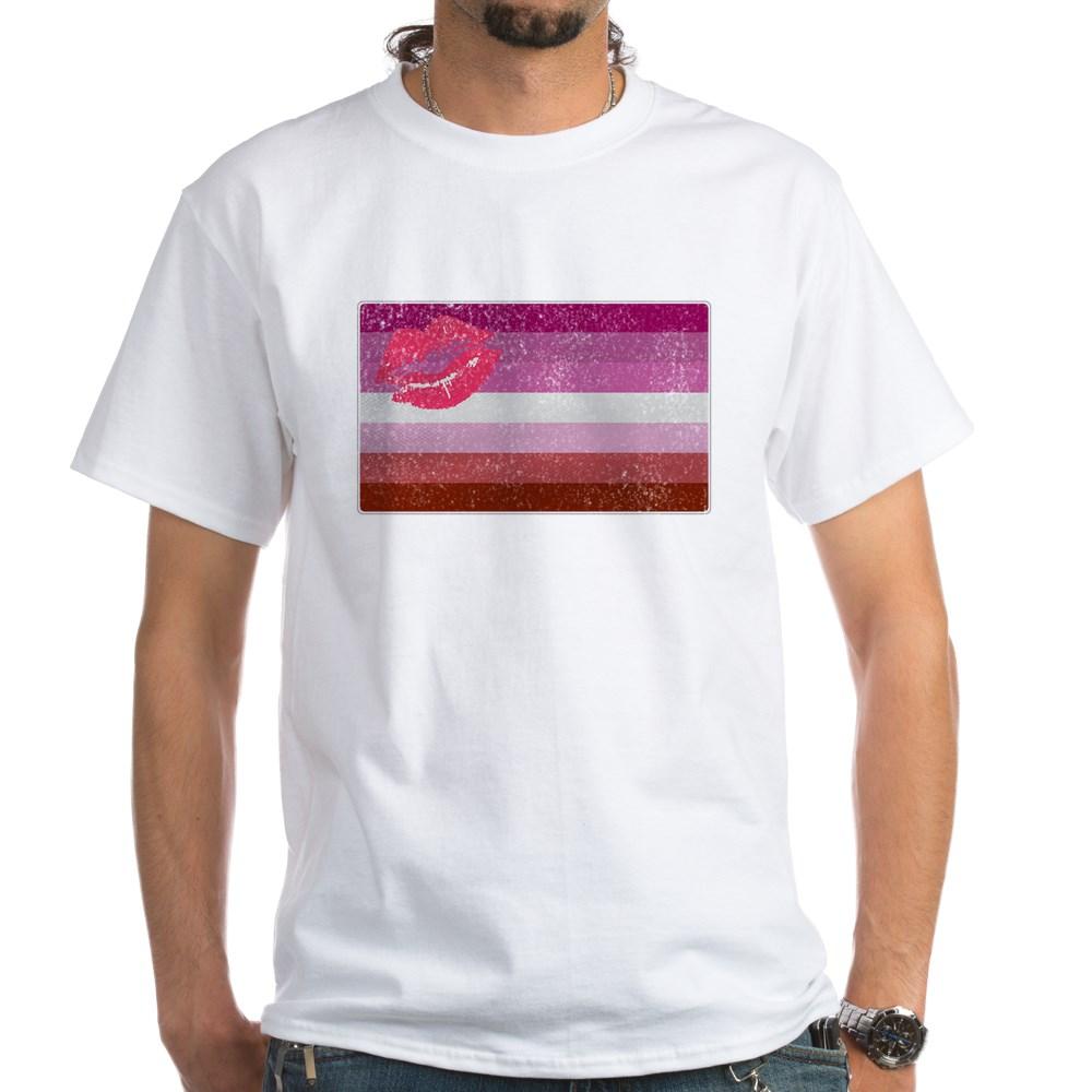 Distressed Lipstick Lesbian Pride Flag White T-Shirt