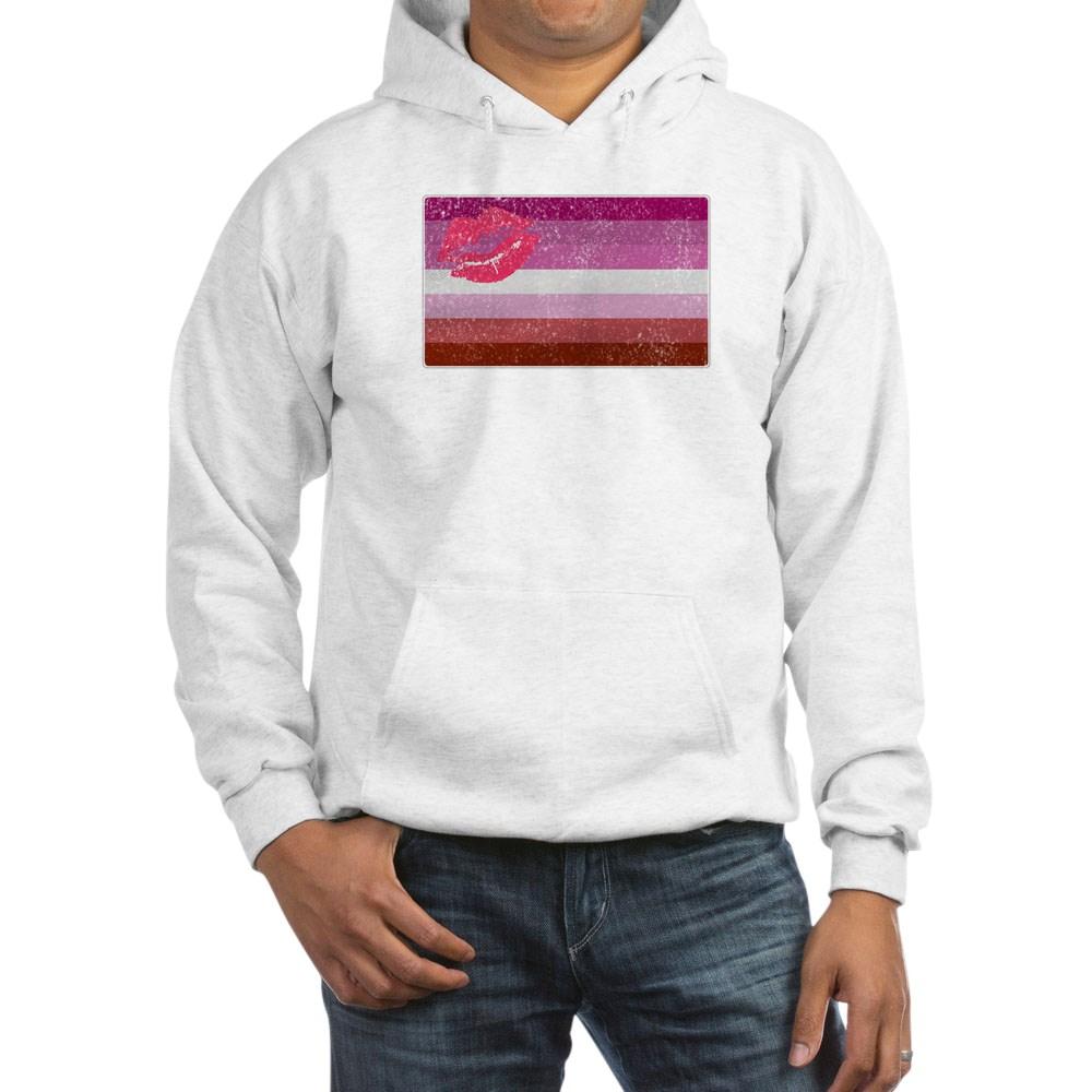 Distressed Lipstick Lesbian Pride Flag Hooded Sweatshirt