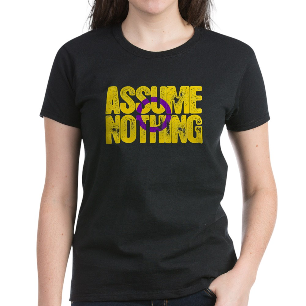 Assume Nothing Intersex Pride Women's Dark T-Shirt