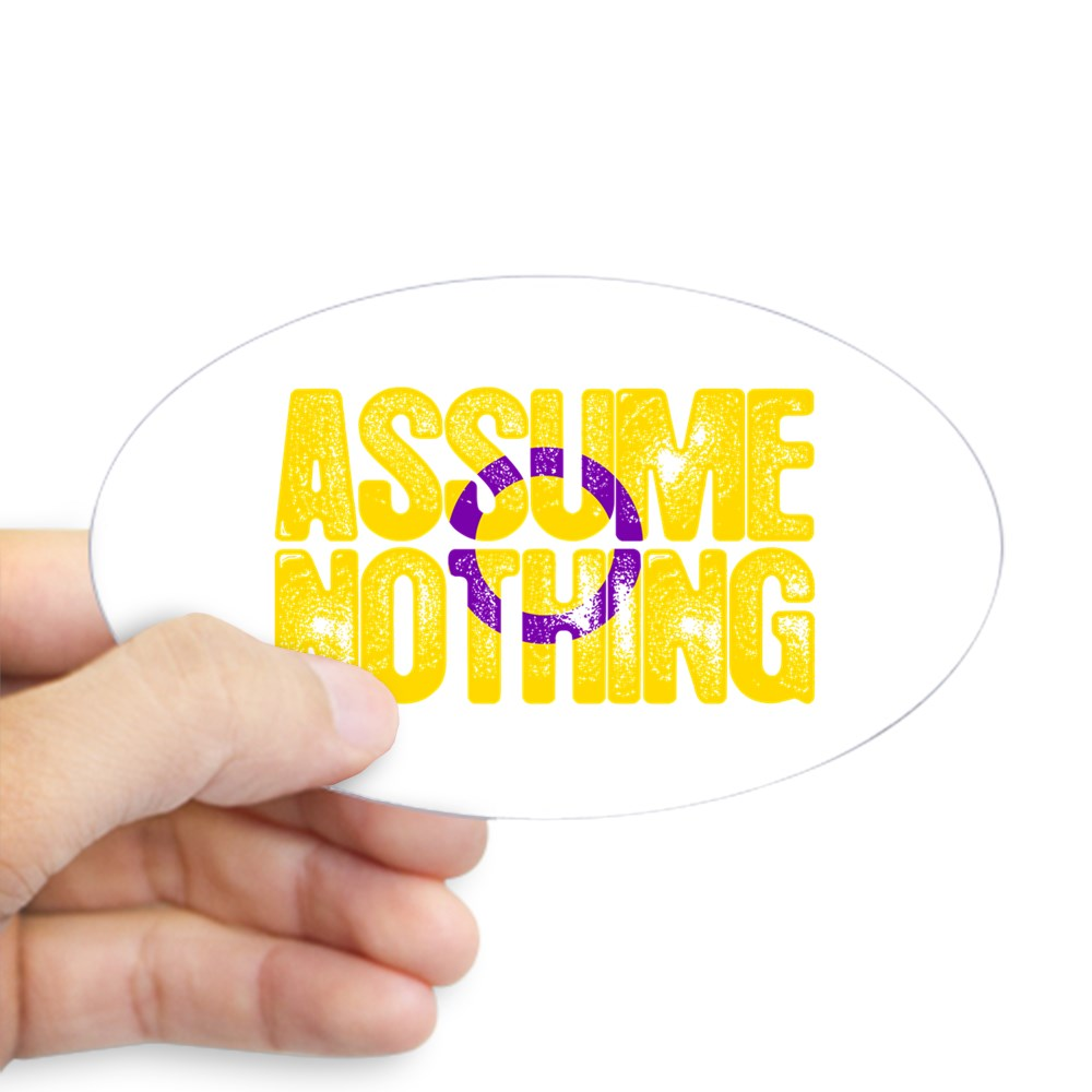 Assume Nothing Intersex Pride Oval Sticker