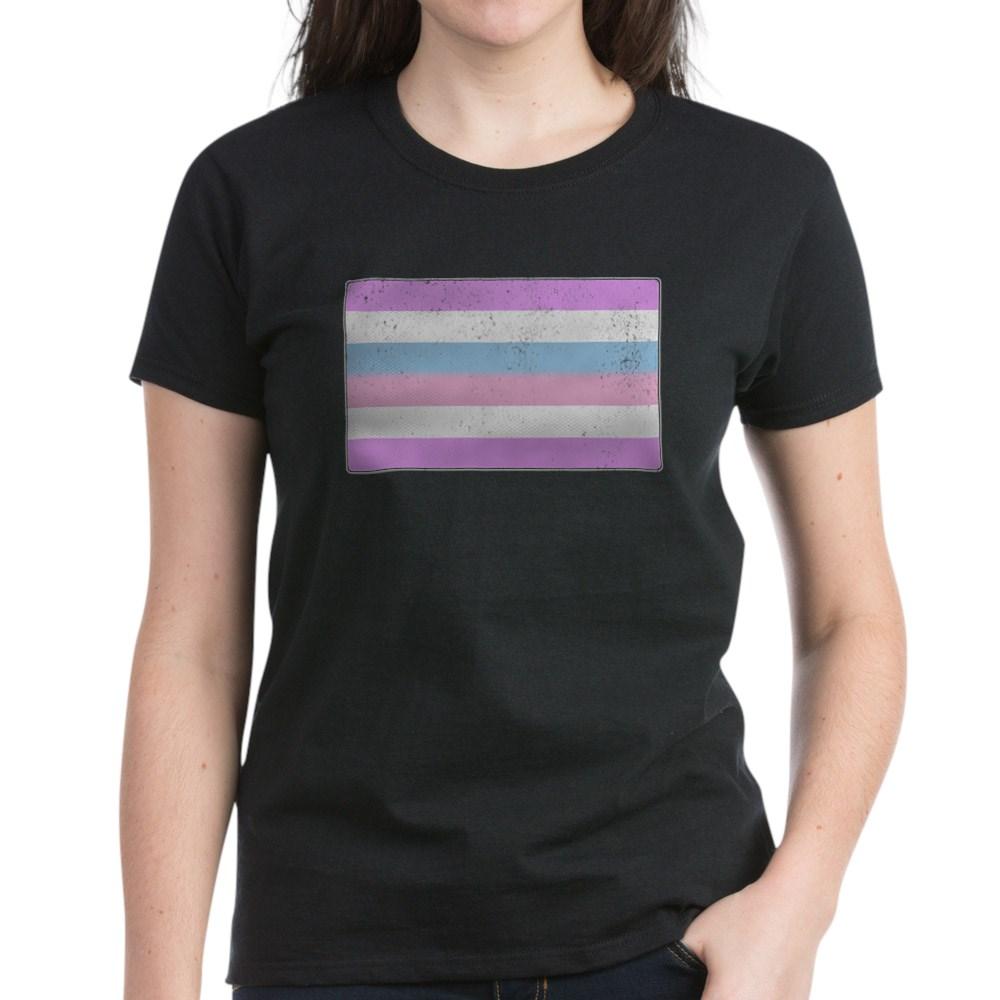 Distressed Bigender Pride Flag Women's Dark T-Shirt