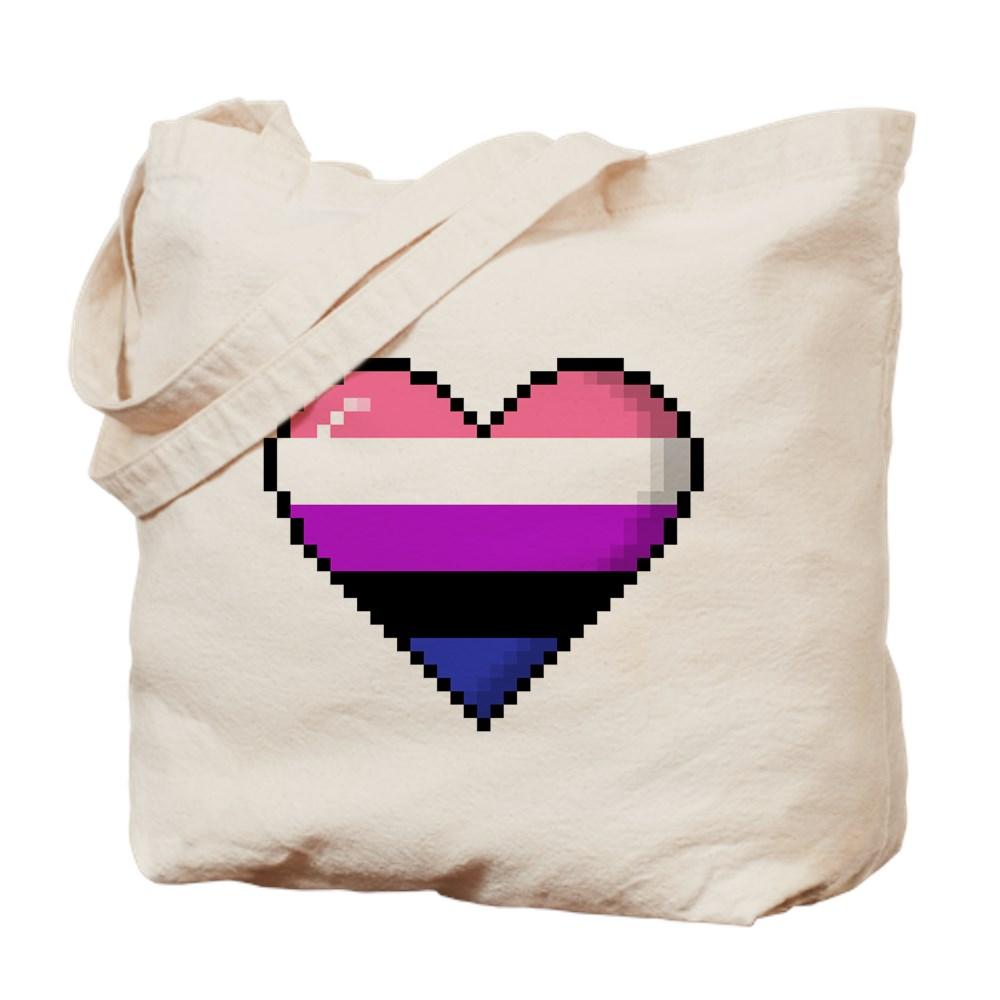 Genderfluid Pride 8-Bit Pixel Heart Tote Bag