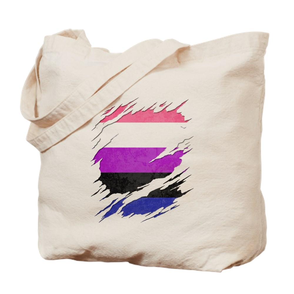 Genderfluid Pride Ripped Reveal Tote Bag