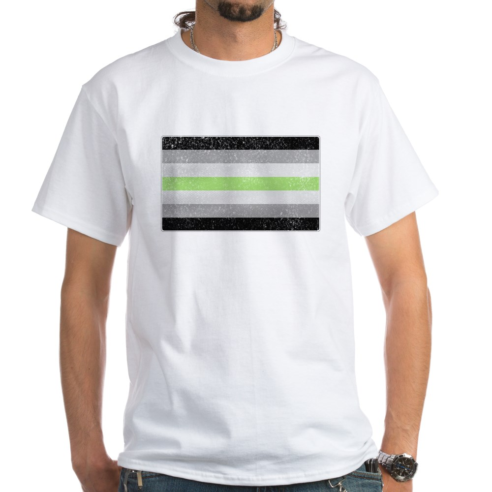 Distressed Agender Pride Flag White T-Shirt