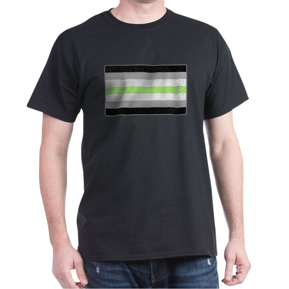 Distressed Agender Pride Flag Dark T-Shirt