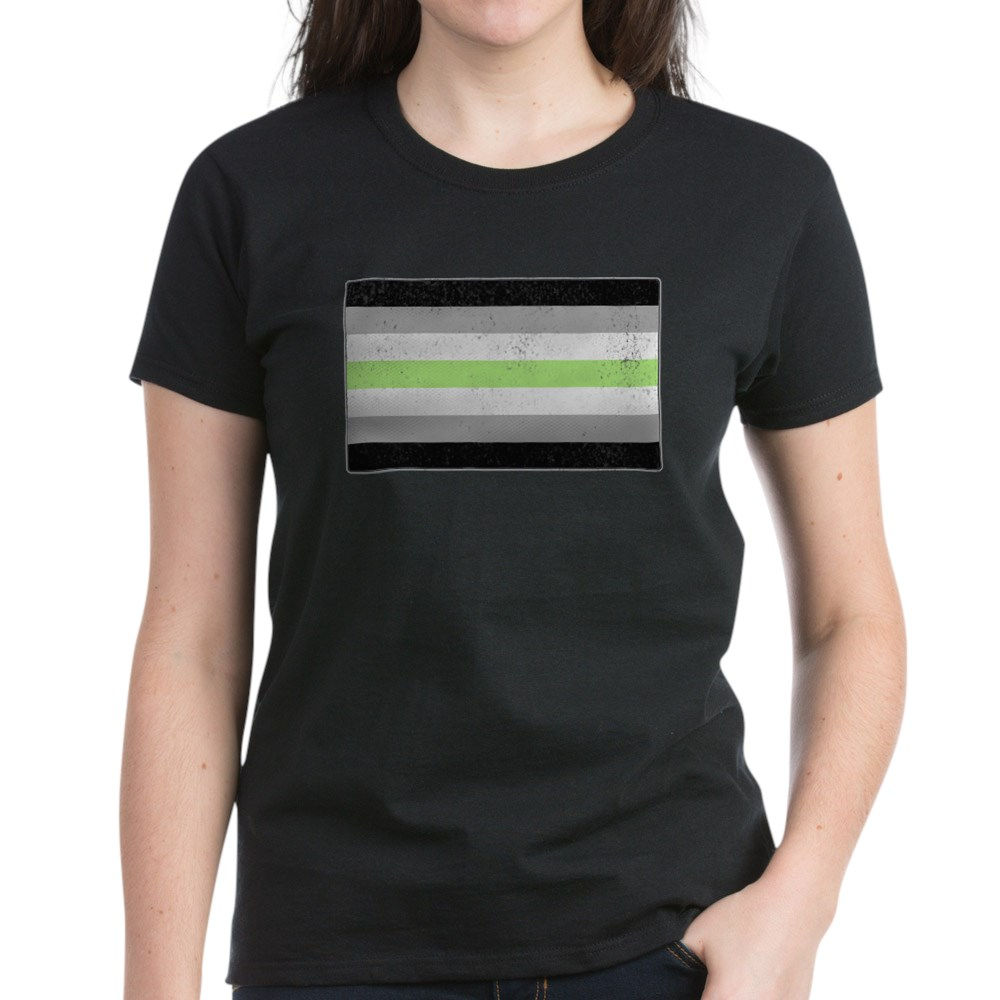 Distressed Agender Pride Flag Women's Dark T-Shirt