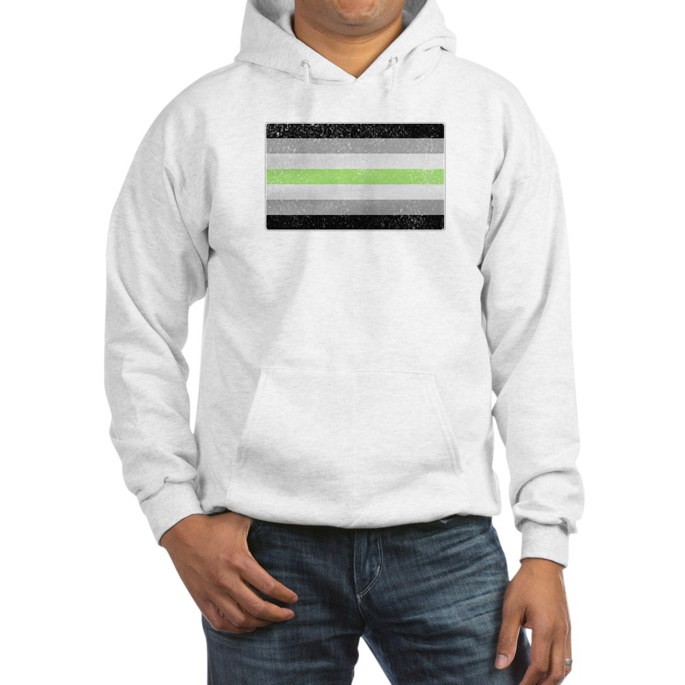 Distressed Agender Pride Flag Hooded Sweatshirt