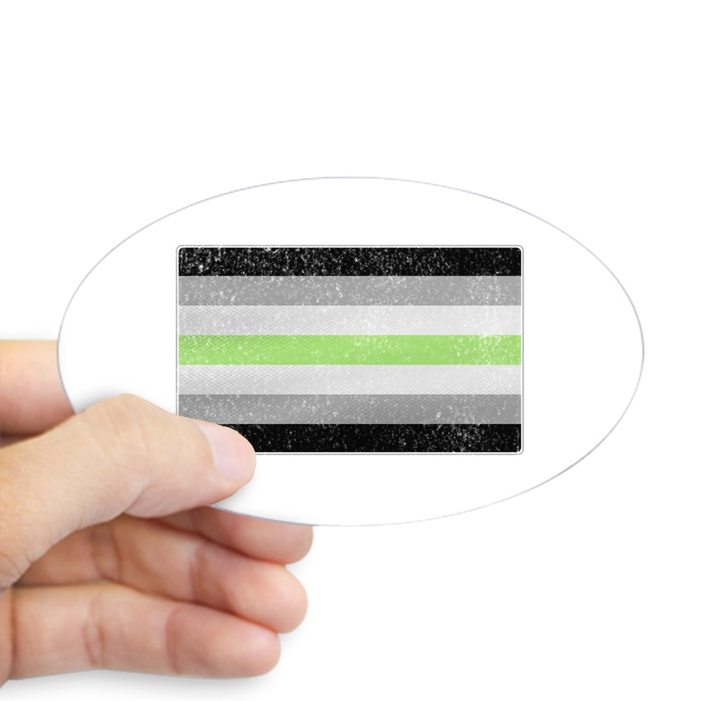 Distressed Agender Pride Flag Oval Sticker