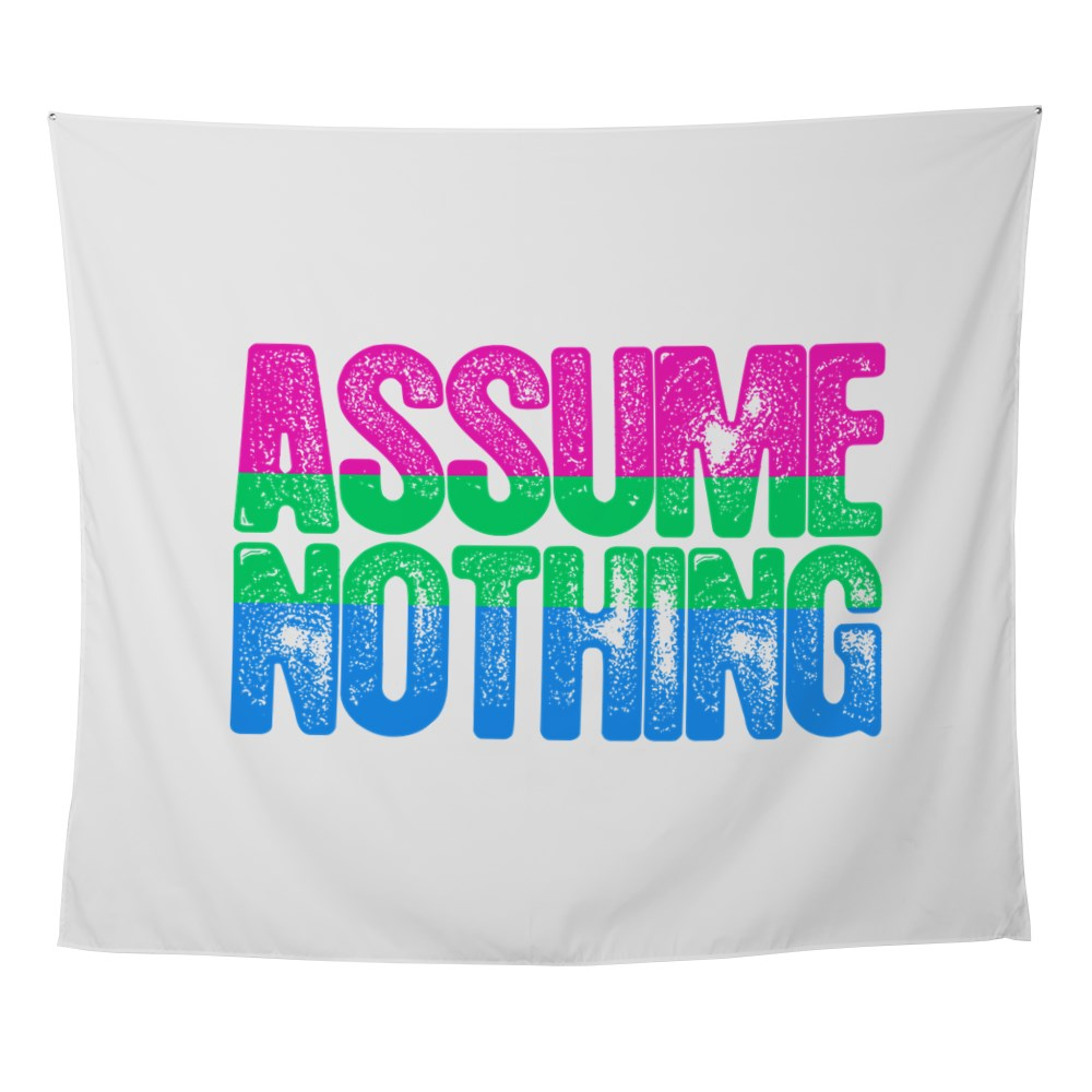 Assume Nothing Polysexual Pride Wall Tapestry