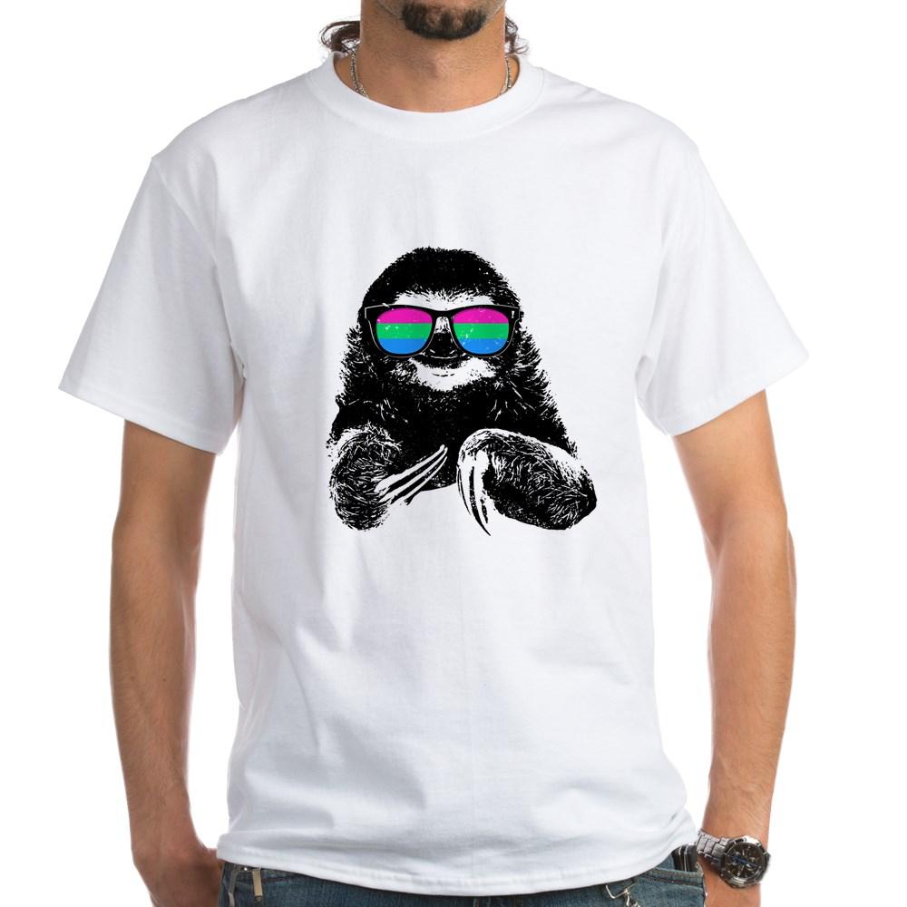 Pride Sloth Polysexual Flag Sunglasses White T-Shirt