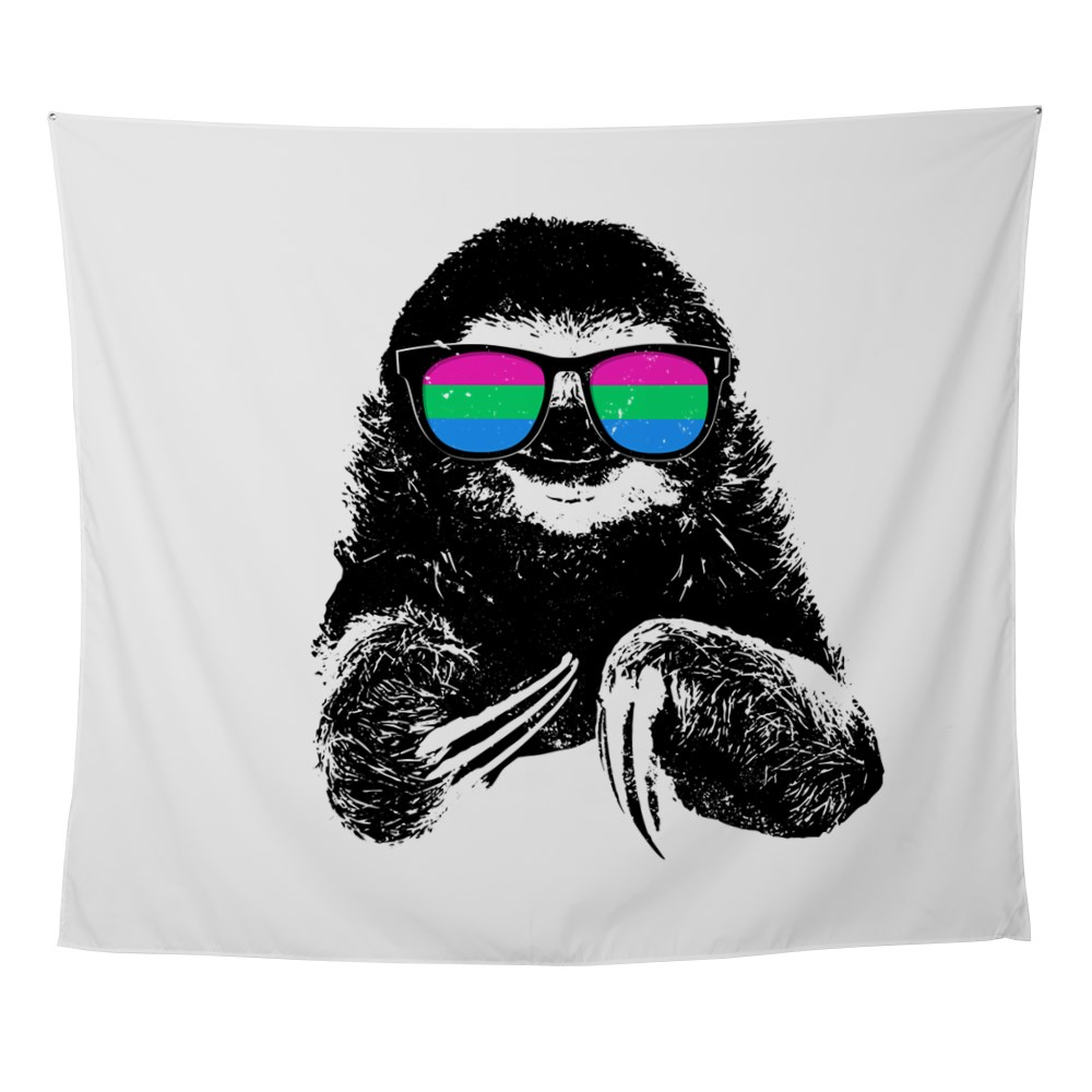 Pride Sloth Polysexual Flag Sunglasses Wall Tapestry