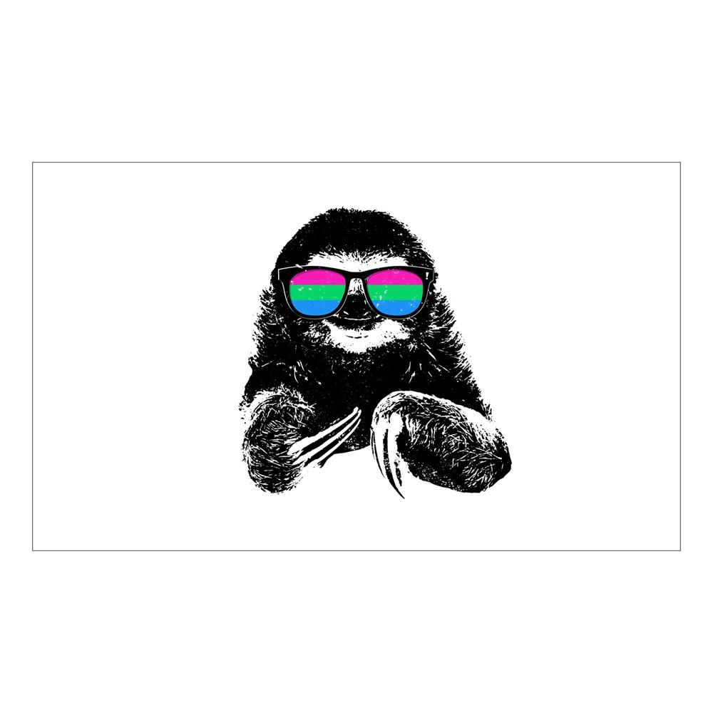 Pride Sloth Polysexual Flag Sunglasses Rectangle Sticker