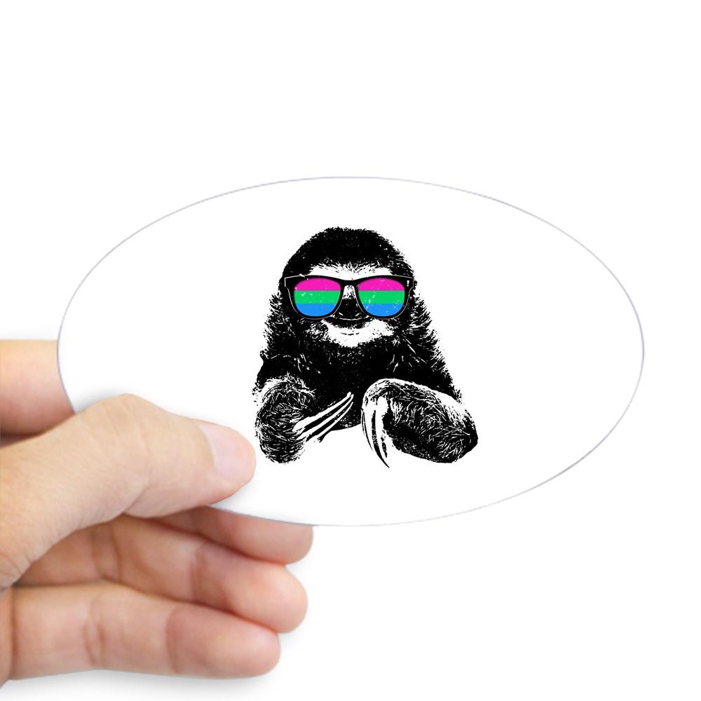 Pride Sloth Polysexual Flag Sunglasses Oval Sticker
