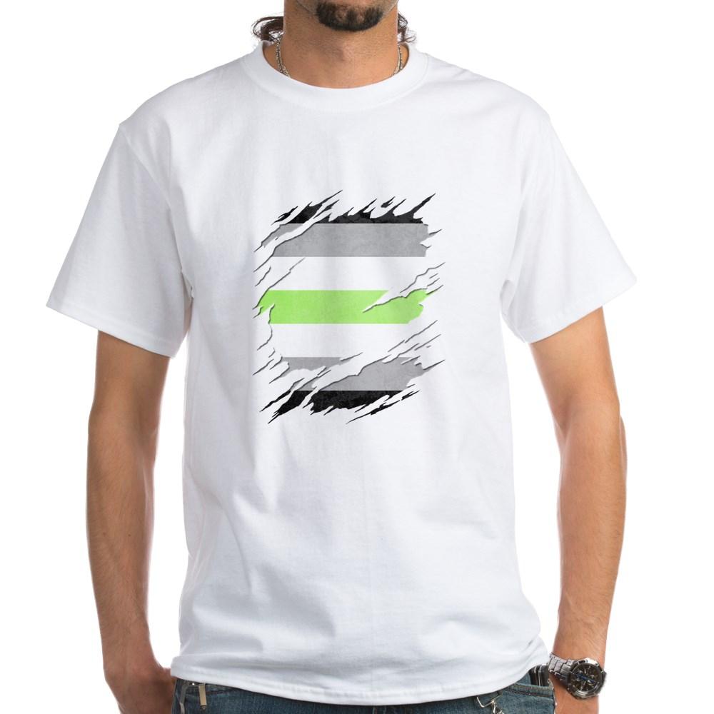 Agender Pride Flag Ripped White T-Shirt