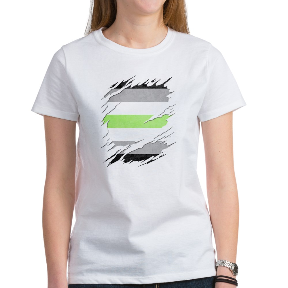 Agender Pride Flag Ripped Women's T-Shirt