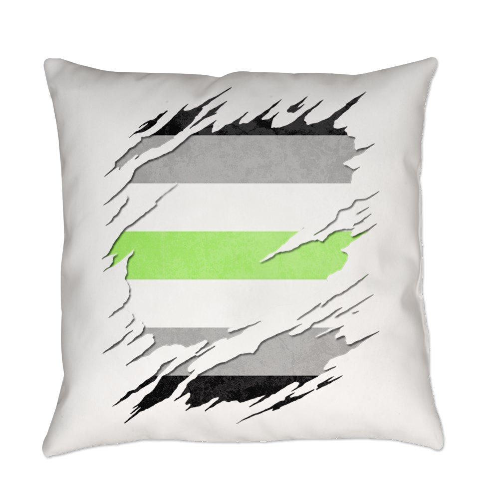 Agender Pride Flag Ripped Everyday Pillow