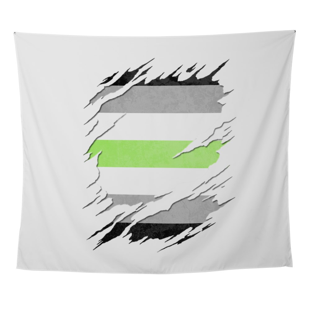 Agender Pride Flag Ripped Wall Tapestry