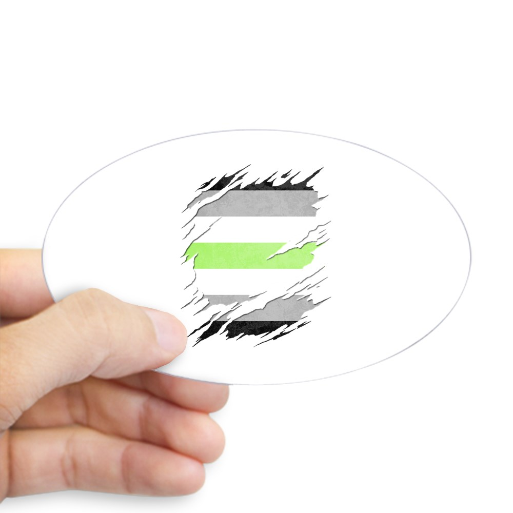 Agender Pride Flag Ripped Oval Sticker
