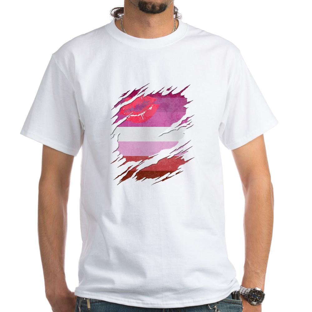 Lipstick Lesbian Pride Flag Ripped White T-Shirt