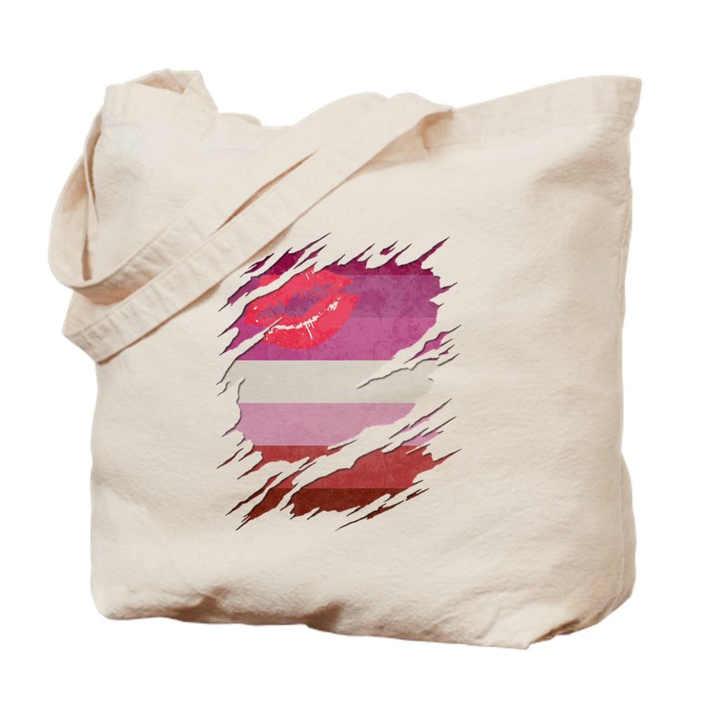 Lipstick Lesbian Pride Flag Ripped Tote Bag
