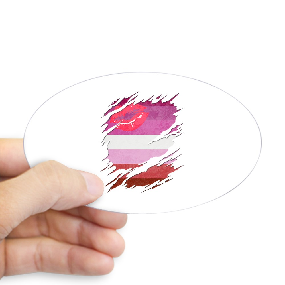 Lipstick Lesbian Pride Flag Ripped Oval Sticker