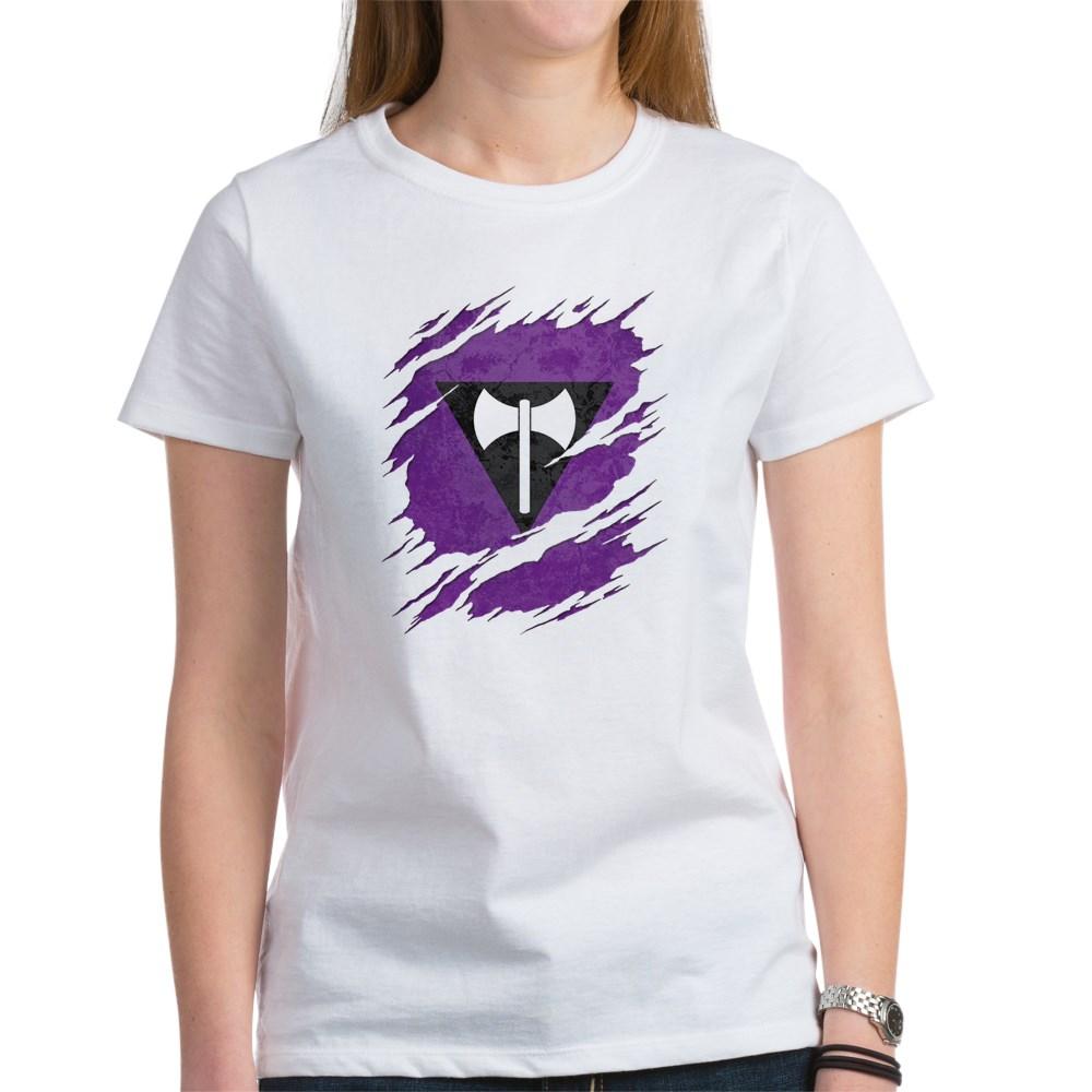 Lesbian Labrys Pride Flag Ripped Women's T-Shirt