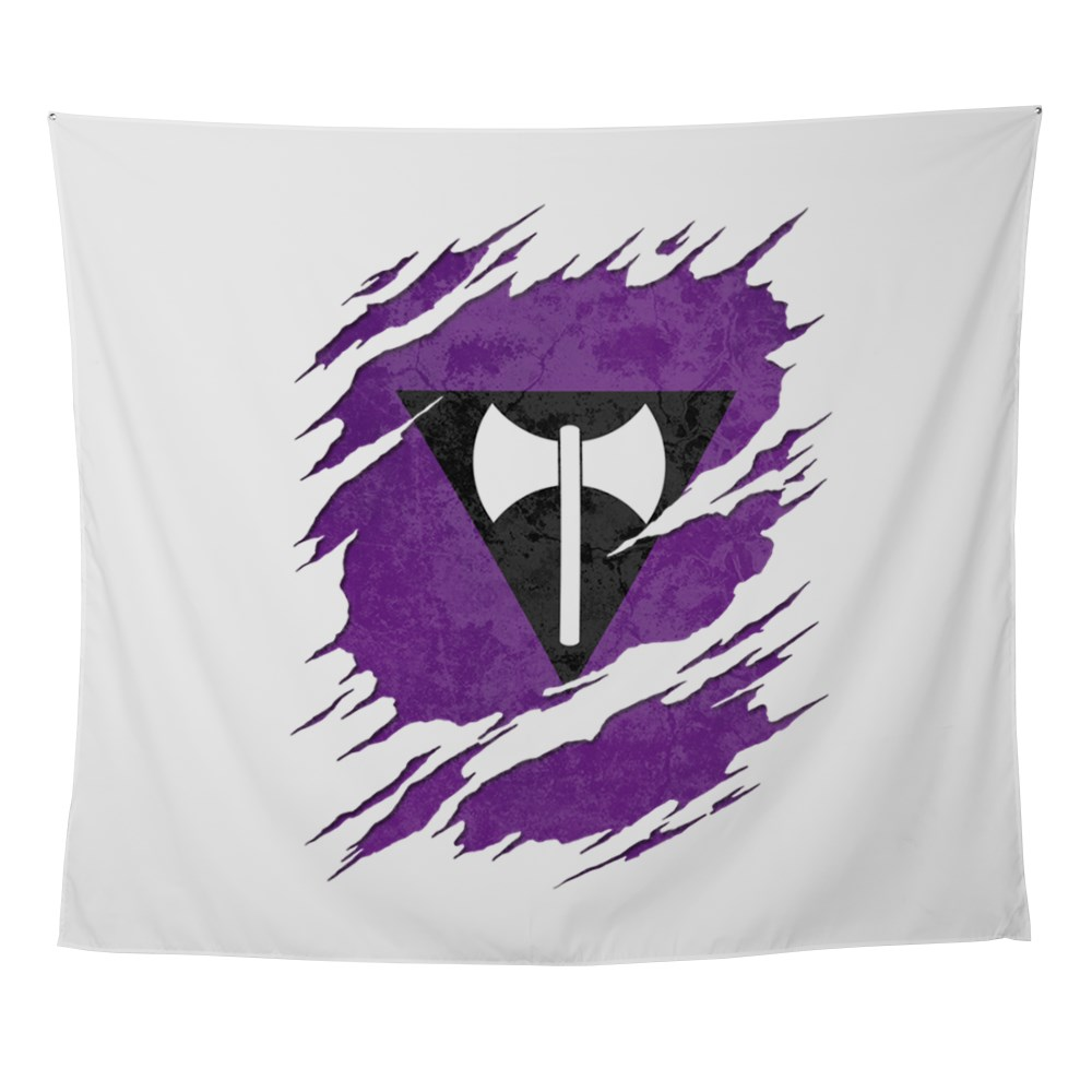 Lesbian Labrys Pride Flag Ripped Wall Tapestry