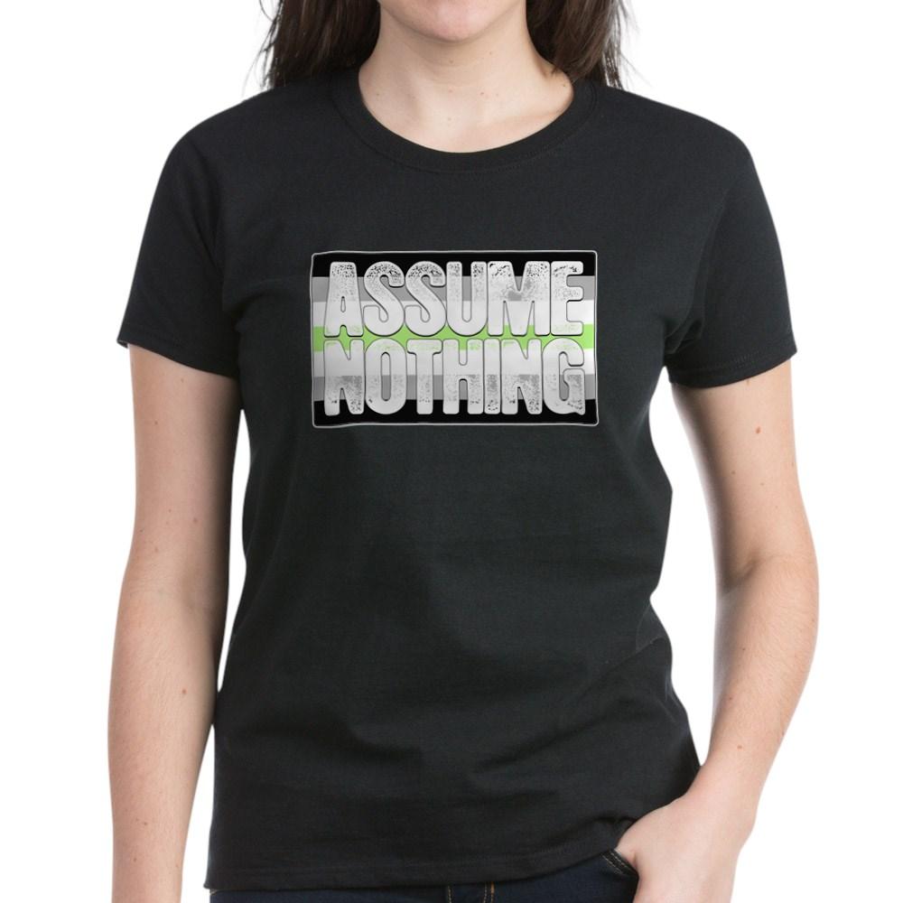 Assume Nothing Agender Pride Flag Women's Dark T-Shirt