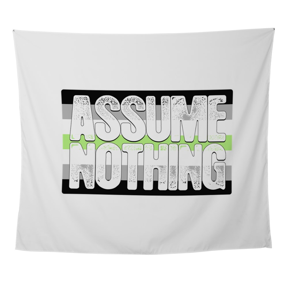 Assume Nothing Agender Pride Flag Wall Tapestry