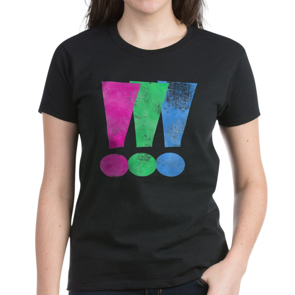 Distressed Polysexual Pride Exclamation Point Women's Dark T-Shirt