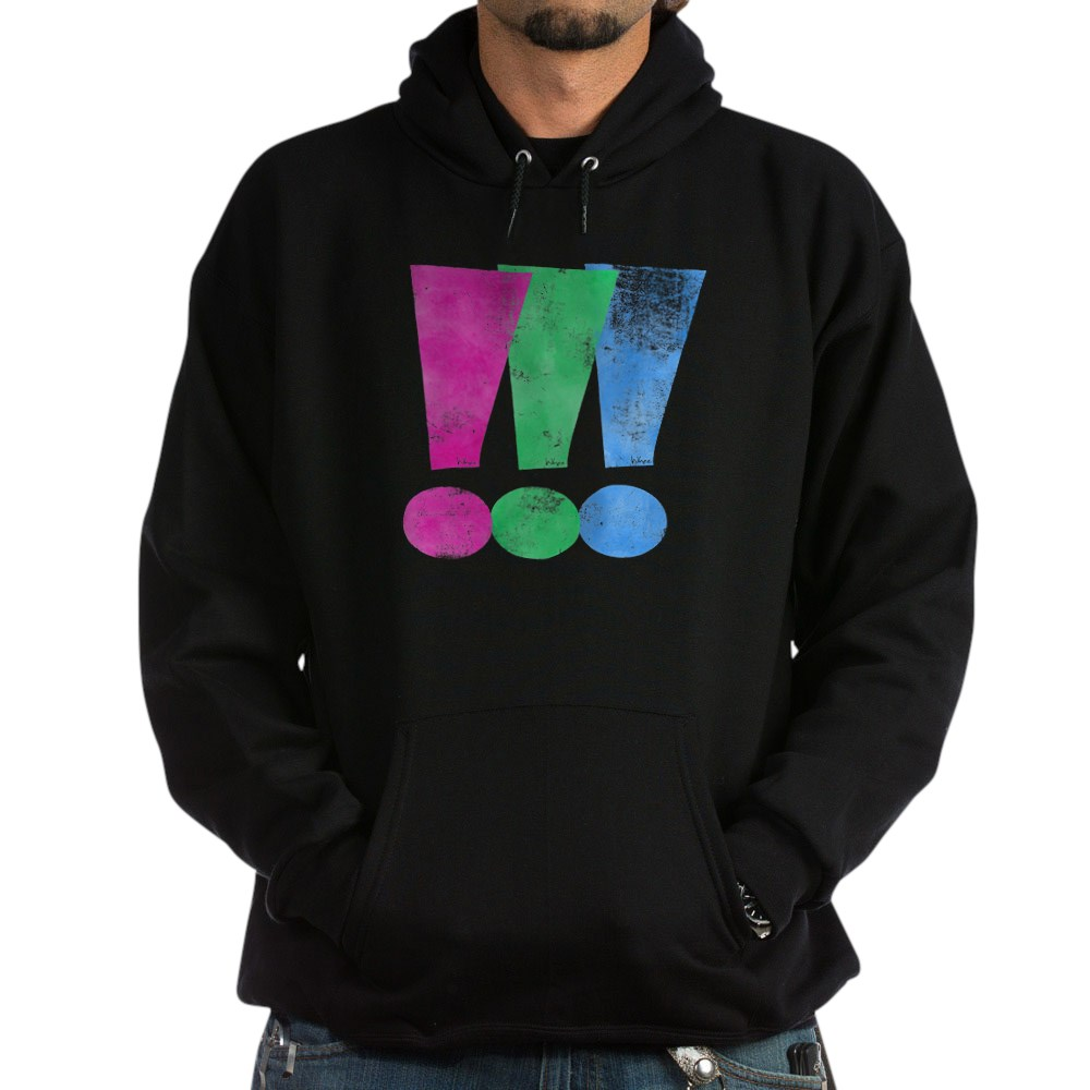 Distressed Polysexual Pride Exclamation Point Dark Hoodie