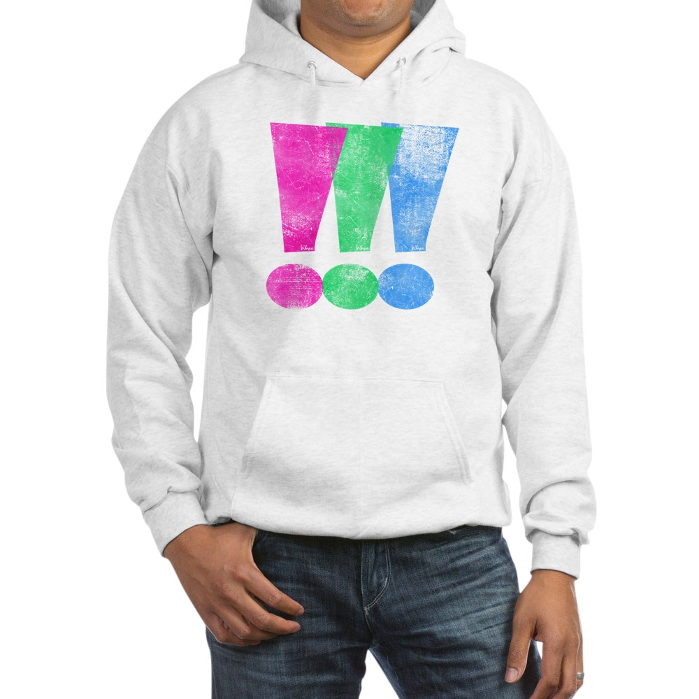 Distressed Polysexual Pride Exclamation Point Hooded Sweatshirt