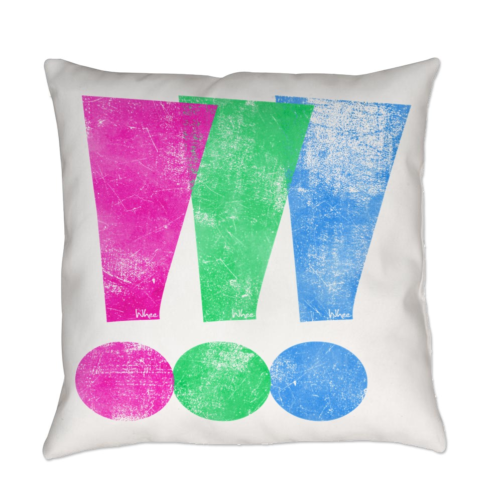 Distressed Polysexual Pride Exclamation Point Everyday Pillow