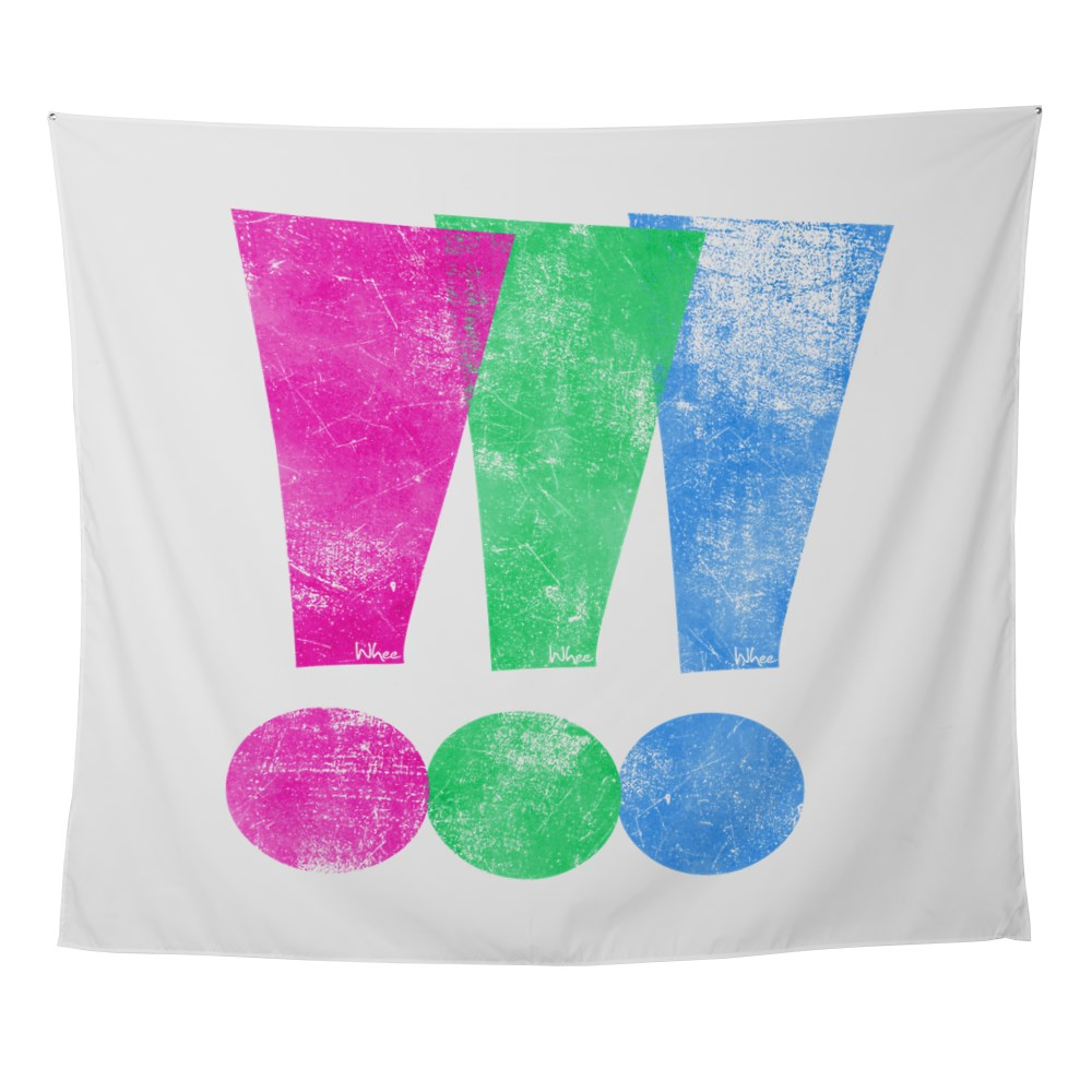Distressed Polysexual Pride Exclamation Point Wall Tapestry