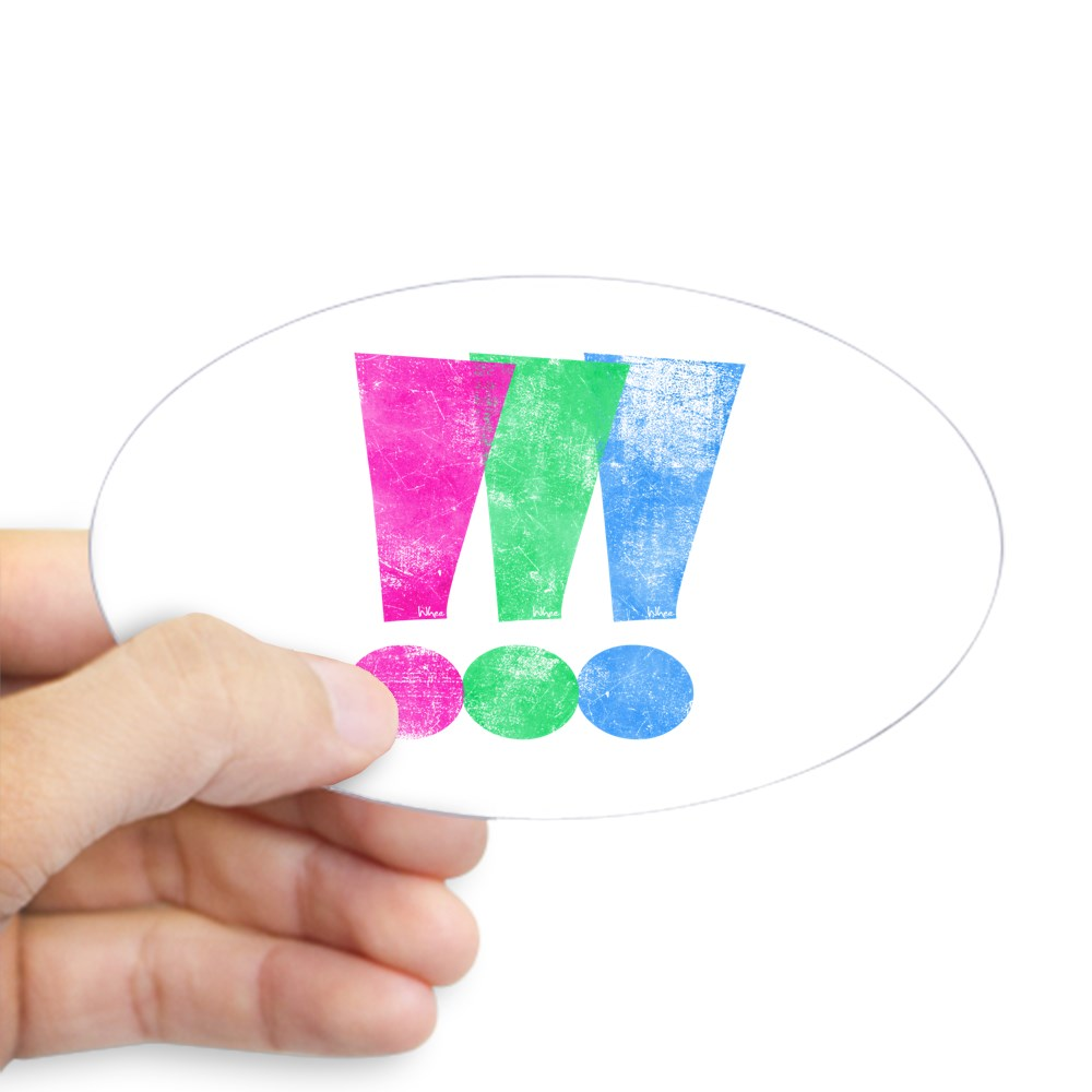 Distressed Polysexual Pride Exclamation Point Oval Sticker